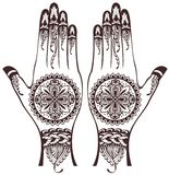 Hands with henna tattoos Royalty Free Stock Photography
