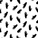 Hands hipster vector seamless pattern. Fun doodle background. Black and white arm pattern Royalty Free Stock Photography