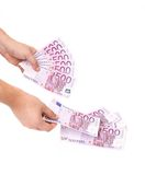 Hands hold banknotes of euro. Stock Images