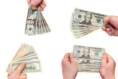 Hands hold 20 bill on white background Royalty Free Stock Photos