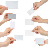Hands hold business cards Royalty Free Stock Photo
