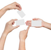 Hands hold business cards Royalty Free Stock Photos