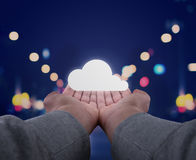 Hands hold a cloud. Two hands, seen firsthand support an abstract rescue system Stock Photography