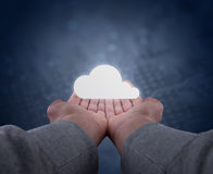 Hands hold a cloud. Two hands, seen firsthand support an abstract rescue system Stock Photos