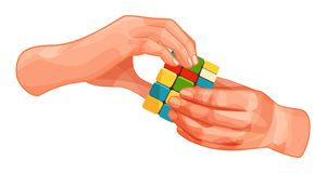 Hands hold colorful gaming cube with colored squares. Hands hold playing colorful gaming cube with colored squares. Concept of entertainment, sleight of hand stock illustration