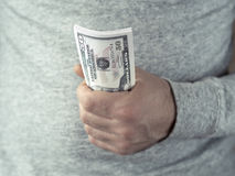 Hands hold dollars Royalty Free Stock Photo