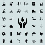 Hands hold a drop icon. Detailed set of Ecology icons. Premium quality graphic design sign. One of the collection icons for websit. Es, web design, mobile app on Royalty Free Stock Images