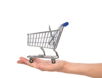 Hands hold empty shopping cart for sale. Isolated on a white background Royalty Free Stock Images
