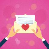 Hands Hold Envelope Red Heart Mail Letter Stock Photo