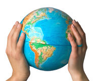 Hands hold the globe Royalty Free Stock Photography