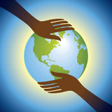 Hands hold globe Royalty Free Stock Photography