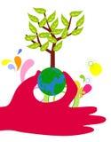 Hands hold the globe tree. Illustration Stock Photos