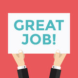 Hands hold great Job sign Stock Image