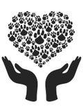 Hands hold Heart Paw symbol vector illustration