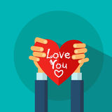 Hands Hold Heart Shape Love Valentines Day Greeting Card Royalty Free Stock Images