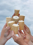 Hands hold ice-cream. In wafers Stock Photos