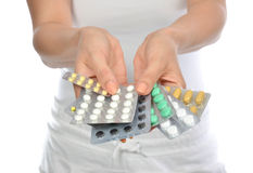 Hands hold medicine aspirin painkiller tablet pills Stock Photo