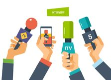 Hands hold microphones, telephones cameras, reporters interview for press, television. Royalty Free Stock Photos