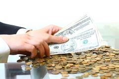Hands hold money Stock Images