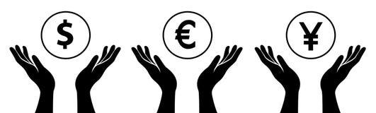 Hands hold the money. All Hands hold the money symbol Stock Photo