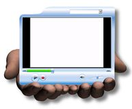 Hands Hold & Offer Media Player Video Presentation Royalty Free Stock Photography