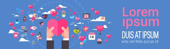 Hands Hold Pink Heart Shape Over Template Abstract Background With Valentines Day Icons And Elements Horizontal Banner. Vector Illustration Royalty Free Stock Photography