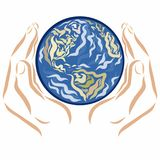 The hands hold the planet vector illustration