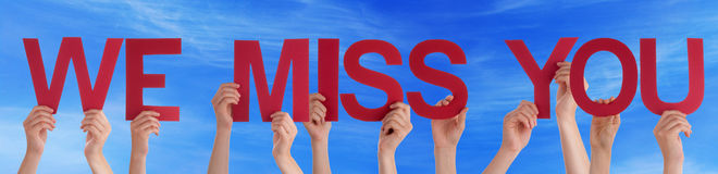 Hands Hold Red Straight Word We Miss You Blue Sky Stock Photography