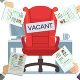 Hands hold resume empty work place illustration royalty free illustration