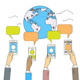 Hands Hold Smart Phone World Globe Map Social Media Communication Royalty Free Stock Photos