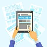 Hands Hold Tablet News Desk Newspapers Internet Stock Image