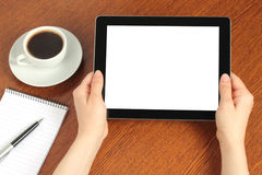 Hands hold tablet PC Royalty Free Stock Photos