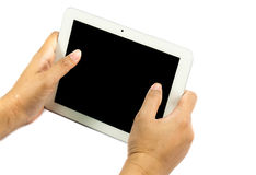 Hands hold tablet Royalty Free Stock Images