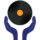 Hands hold vinyl record disk isolated white. Save, buy, enjoy, play it design vector. Royalty Free Stock Photos