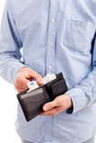 Hands hold wallet with money isolated. On white Stock Photography