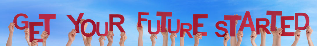 Hands Hold Word Get Your Future Started Blue Sky Stock Images