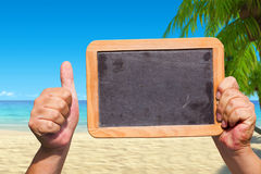 Free Hands Holding A Blank Slate Blackboard In The Air Stock Photography - 43971202