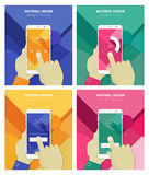 Hands Holding Abstract Smartphone With Material Background Stock Photo