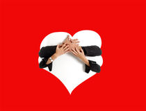 Hands holding an ad space Royalty Free Stock Photos