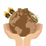 Hands holding arid planet earth icon. Flat design hands holding arid planet earth icon  illustration Stock Images