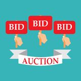 Hands holding auction paddles,  illustration of auction Royalty Free Stock Images
