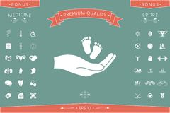 Hands holding baby foot. Signs and symbols - graphic elements for your design Stock Photography