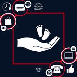 Hands holding baby foot. Signs and symbols - graphic elements for your design Stock Images