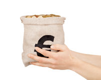 Hands holding a bag of coins Royalty Free Stock Images