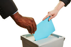 Hands holding ballot paper during election Royalty Free Stock Image