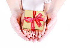 Hands holding beautiful gift box Royalty Free Stock Images