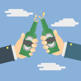 Hands holding the beer bottles Stock Images