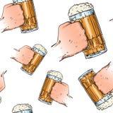 Hands Holding Beer Mugs Seamless Pattern Oktoberfest Festival Holiday Decoration Banner. Vector Illustration Stock Photo