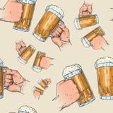 Hands Holding Beer Mugs Seamless Pattern Oktoberfest Festival Holiday Decoration Banner. Vector Illustration Stock Image