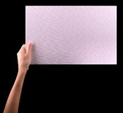 Hands holding big blank paper banner Royalty Free Stock Photography